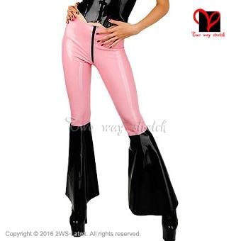 Sexy Latex Leggings flared legs front zipper pink and black Rubber Bell Bottom Pants Gummi Trousers Long XXXL plus size KZ-079