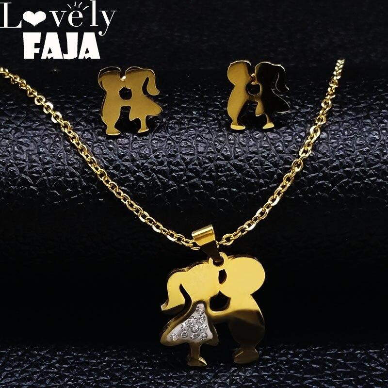 2020 conjunto de joyas de acero inoxidable con diseño de beso de niño y niña, conjunto de pendientes y collar de Color dorado, joyería para mujer, pendientes dorados S17469