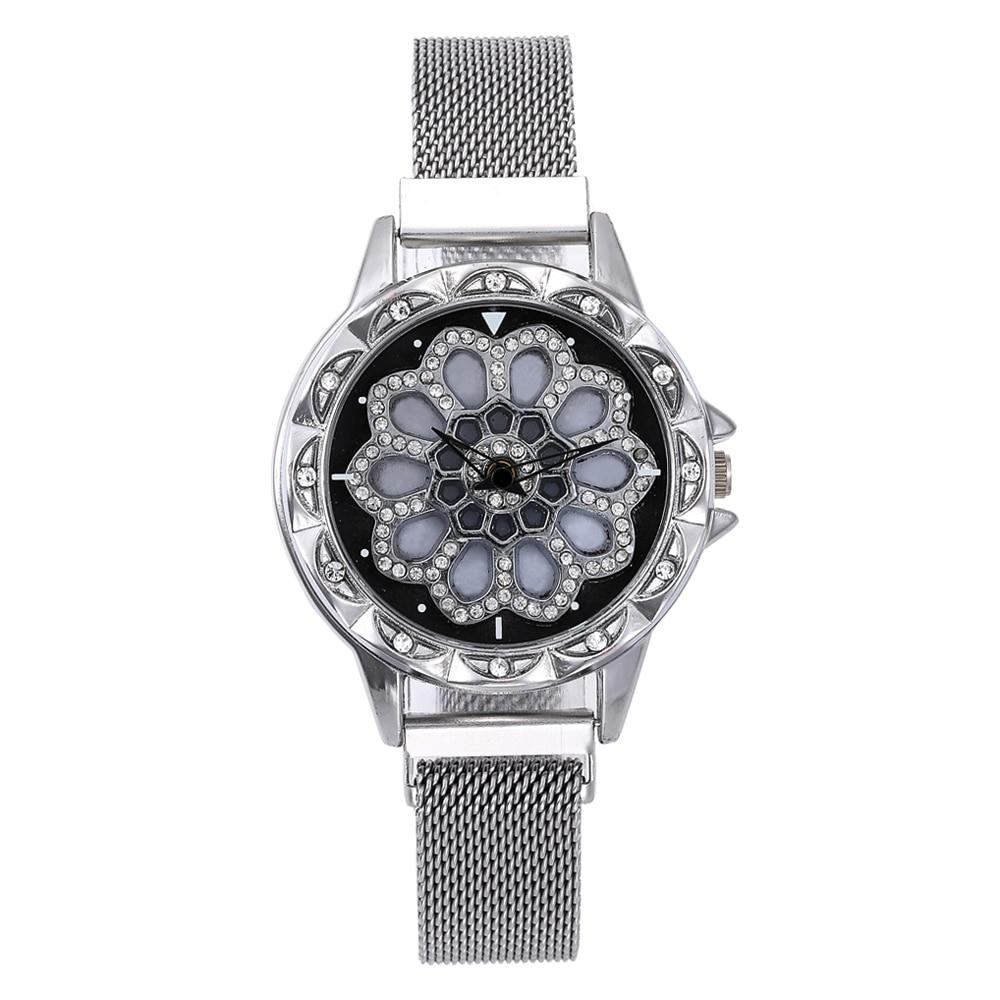 Women Watch Mesh Magnet 360 Degree Rotating Dial Ladies Watch Luxury Fashion Diamond Quartz Watch for Women Clock Relogio Femino