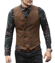 Gilet costume homme col en V laine marron noir Double boutonnage coupe cintrée gilet décontracté formel affaires Groomman pour mariage gilet
