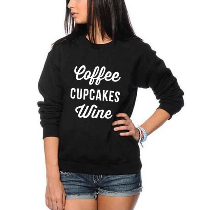 Felmae casuais Agasalho Outono Crewneck Hoodies Mulheres Pullover Café Biscoitos Vinho Camisola Engraçada