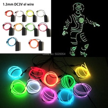 1.3MM néon lampe à LED voiture lumières danse fête décor Flexible EL câble métallique Tube scène Costume lumière avec inverseur 3V