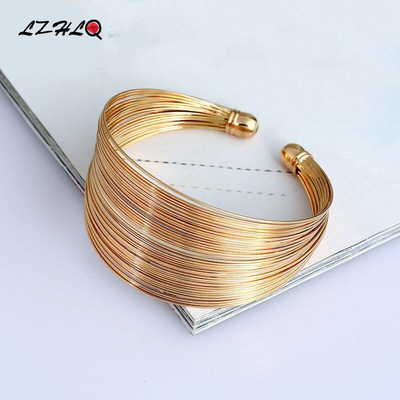 Многослойный металлический проволочный браслет-манжеты LZHLQ для женщин 2020, модный бренд ювелирных изделий, аксессуары с геометрическим узором, жесткий браслет в стиле панк