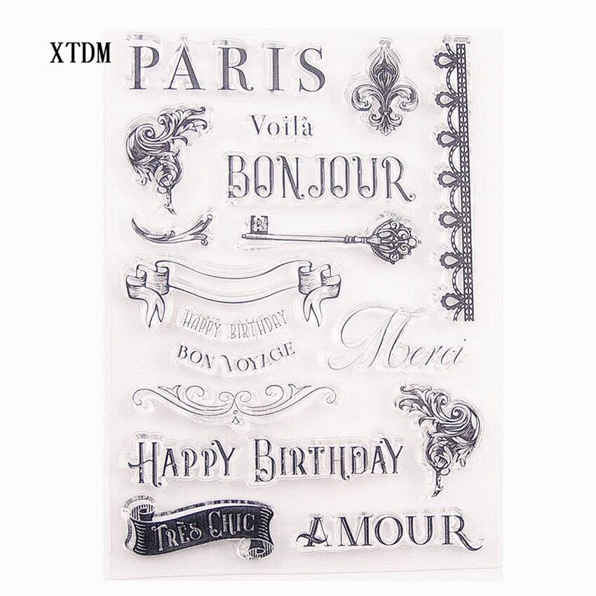 Gran oferta sellos transparentes claros de París/sellos de silicona sello de rodillo para álbum para recortes de fotos/fabricación de tarjetas