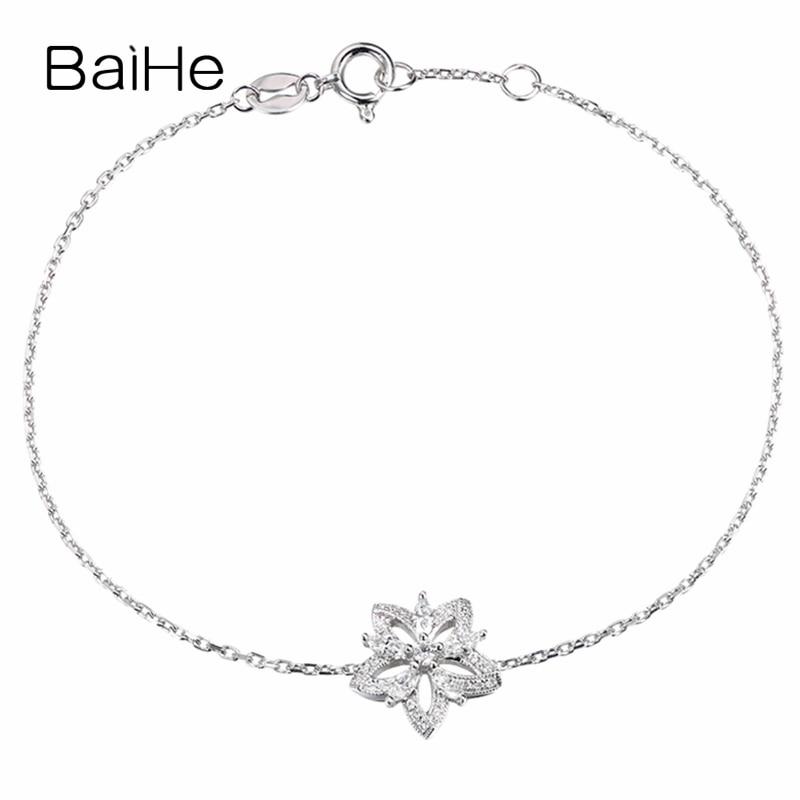BAIHE الصلبة 18K الذهب الأبيض 0.25ct H/SI-SI3 الماس الطبيعي سوار المرأة العصرية غرامة مجوهرات صنع سوار زهرة جميلة