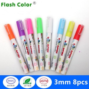 Flashcolor Highlighter Liquid Chalk Marker Pens for School Art Painting 8 Colors Round&Chisel Tip 6mm 3mm