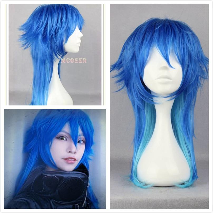 Disfraz de Peluca de pelo con gradiente azul para hombre con asesinato DRAMAtical juego japonés