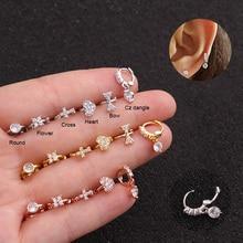 Feelgood 1Pc Tiny Cz Cross Heart Flower Bow Small Hoop Earring Cartilage Helix Tragus Rook Ear Piercing Jewelry