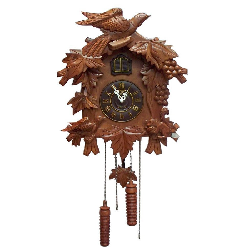Vintage reloj de cuco pared relojes de cuco de moda rural música sensation reloj pájaro de madera maciza reloj grabado decoración mx6061135