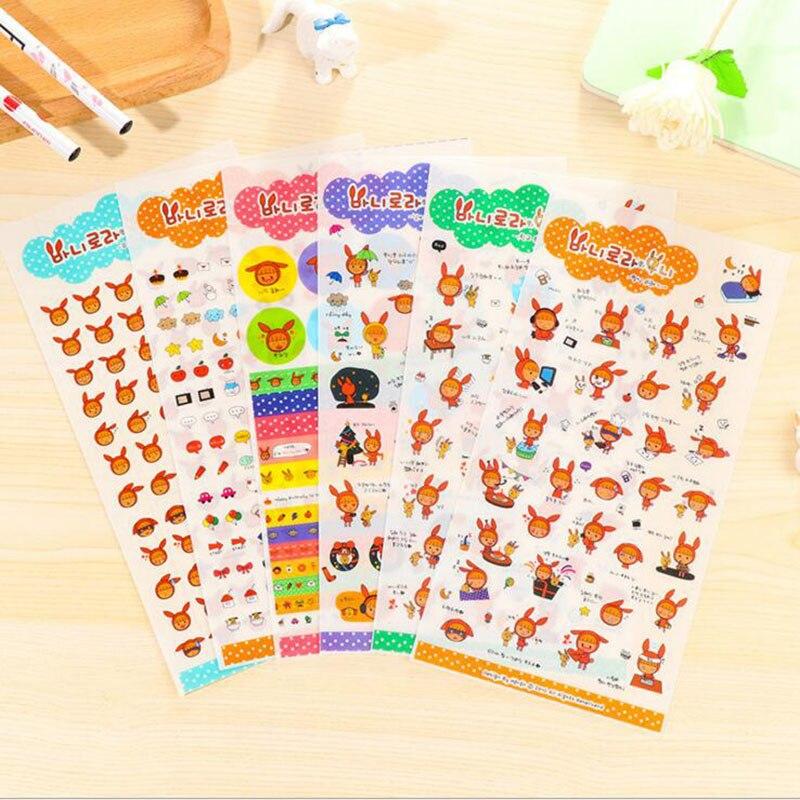 6 hojas de oreja de conejo kawaii niña pegatinas manualidades para decoración artesanal palo etiqueta teléfono cuaderno diario decorativo adhesivo