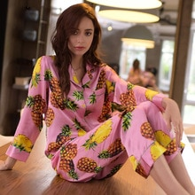Marque vraie soie pyjamas femme rose ananas fleur vêtements de nuit femmes Pure soie à manches longues Pyjama pantalon deux pièces ensembles T8007
