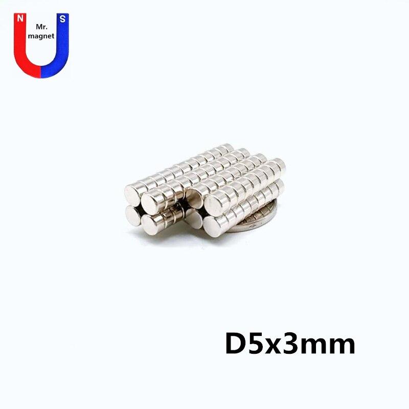 200/500/2000 piezas 5mm X 3mm cilindro fuerte imán de tierra rara 5X3 neodimio disco magnético redondo pequeño N35 a granel 5*3mm