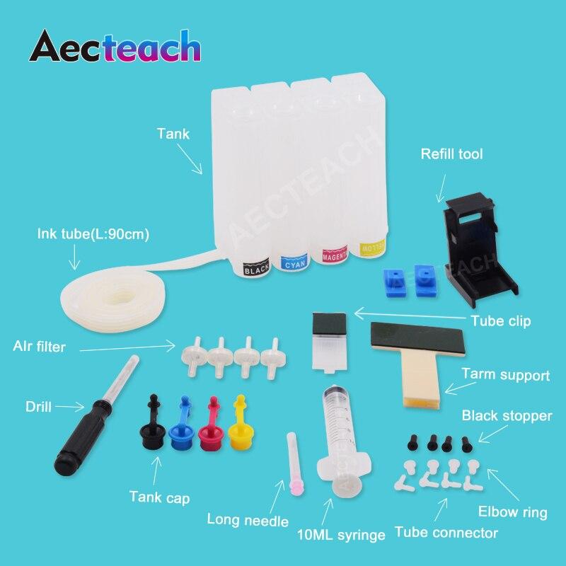 Tanque de tinta Aecteach Diy Ciss para HP 140 141 XL, cartucho de tinta DeskJet D4263 D4363 Photosmart C4473 C4480 C4483 C4583 C4593