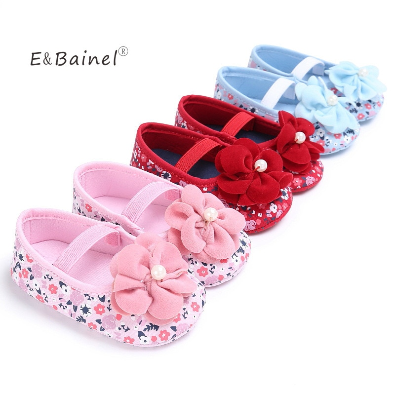 E&Bainel Baby Girl Shoes Cute Flower Princess Soft Baby Shoes Solid Elastic First Walkers Summer