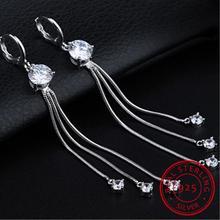 Fine Jewelry Long Tassel Chain Real 925 Sterling Silver Shiny Zirconia Drop Earrings Boucle D'oreille For Women Delicate Gifts