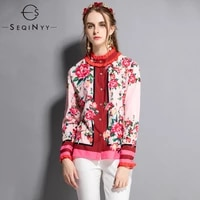 seqinyy printed blouse flowers 2018 early autmn high quality fashion europe new women draped red long sleeve pink loose shirt