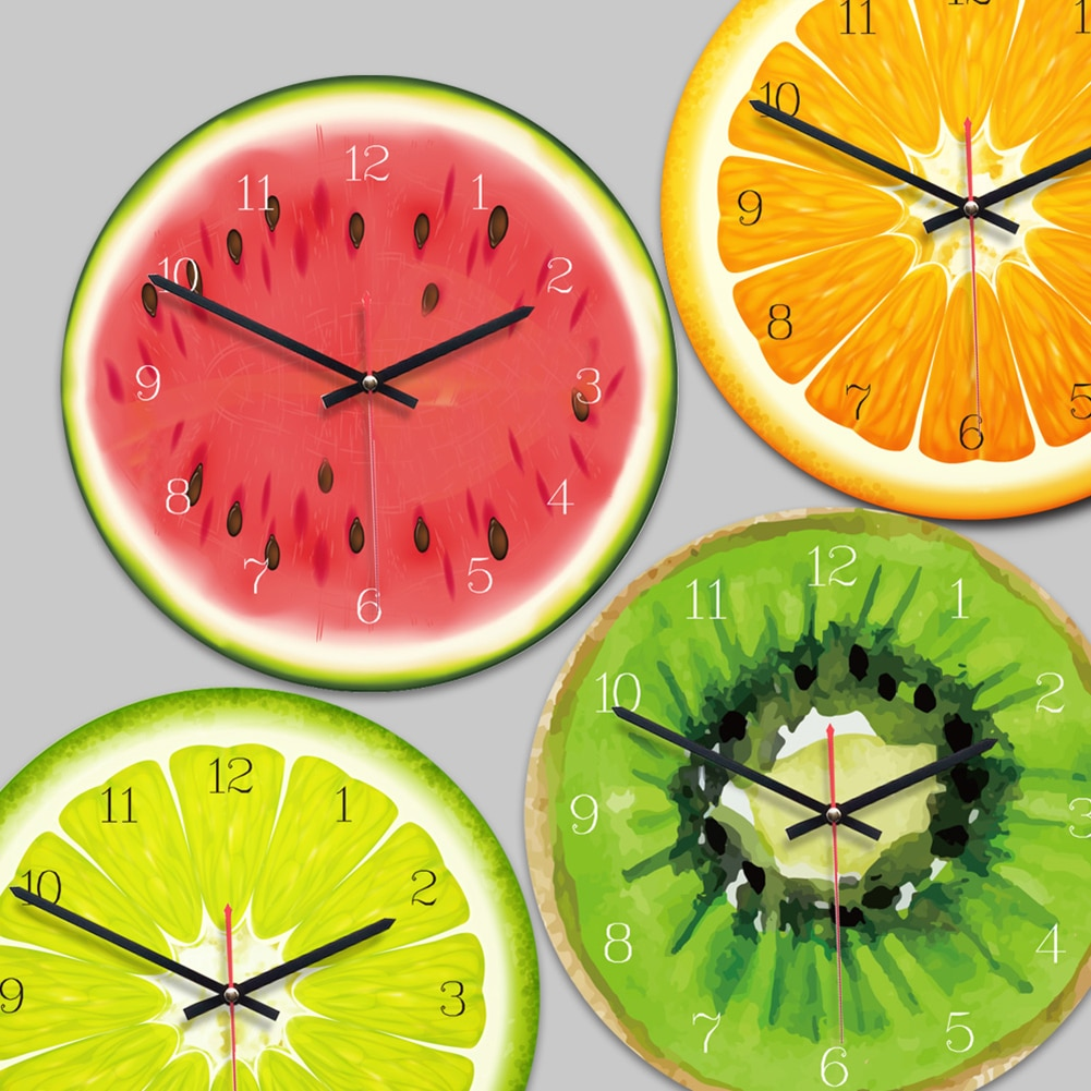 Креативные настенные часы в виде фруктового дерева, лайм, современная кухня, цветные настенные часы, домашний декор, часы для гостиной, троп...