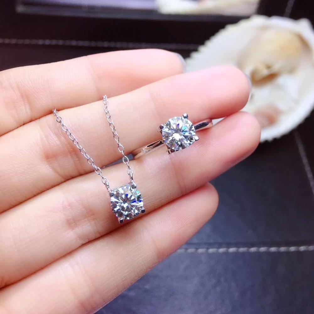 Joyería Qi Xuan_Fashion Jewelry_1 quilate Moissanite colgante collar Set_S925 plata sólida mujer Necklace_Factory Venta Directa