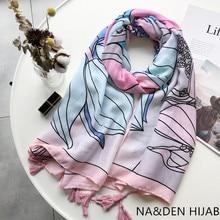 Flower print pattern tassels foulard viscose Muslim hijab women scarf pink theme wraps fashion bandana shawls 10pcs/lot