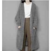 Genuíno vison cashmere suéter feminino puro cashmere cardigan de malha vison jacketn inverno longo casaco de pele frete grátis m1035