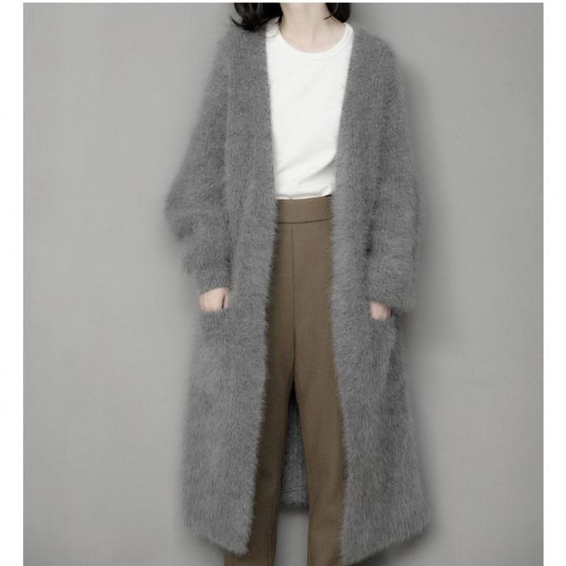Женский кашемировый свитер из натурального меха норки, Длинная вязаная норковая куртка на зиму, бесплатная доставка, M1035