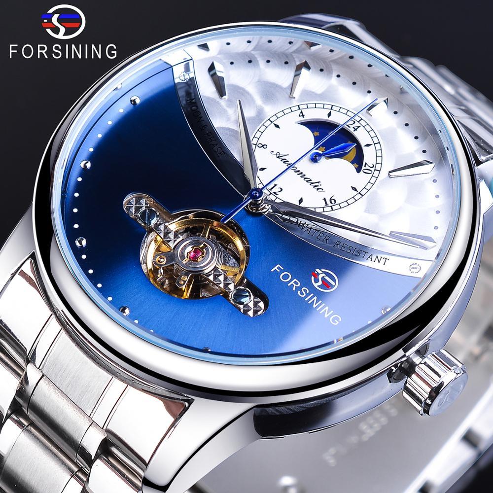 Forsining-ساعة رجالية أوتوماتيكية ، سوار ساعة رجالي ، مرحلة القمر ، ستانلس ستيل ، كاجوال ، ميكانيكية ، نوعية جيدة ، أزرق