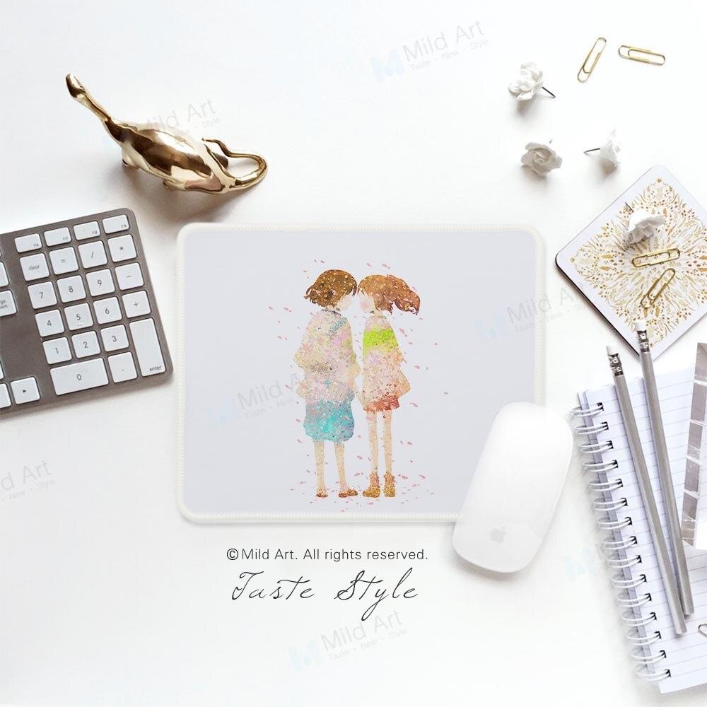 Acuarela amantes Sakura Anime Miyazaki arte Pop personalizado creativo amor pareja regalo PC Juegos de ordenador portátil alfobrilla de ratón ordenador