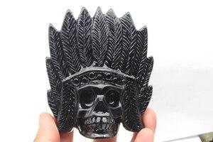 223 grams of natural quartz crystal skull obsidian Shi Yumao healing