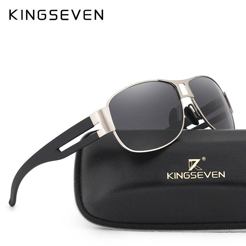 Солнцезащитные очки KINGSEVEN мужские, классические, брендовые, роскошные, алюминиевые, поляризационные, защита от EMI, линзы, мужские очки для во...