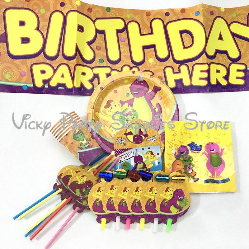 51 шт./лот, одноразовый набор посуды с динозавром из мультфильма Барни, день рождения, детские чашки для душа, вечерние тарелки, набор посуды, ...