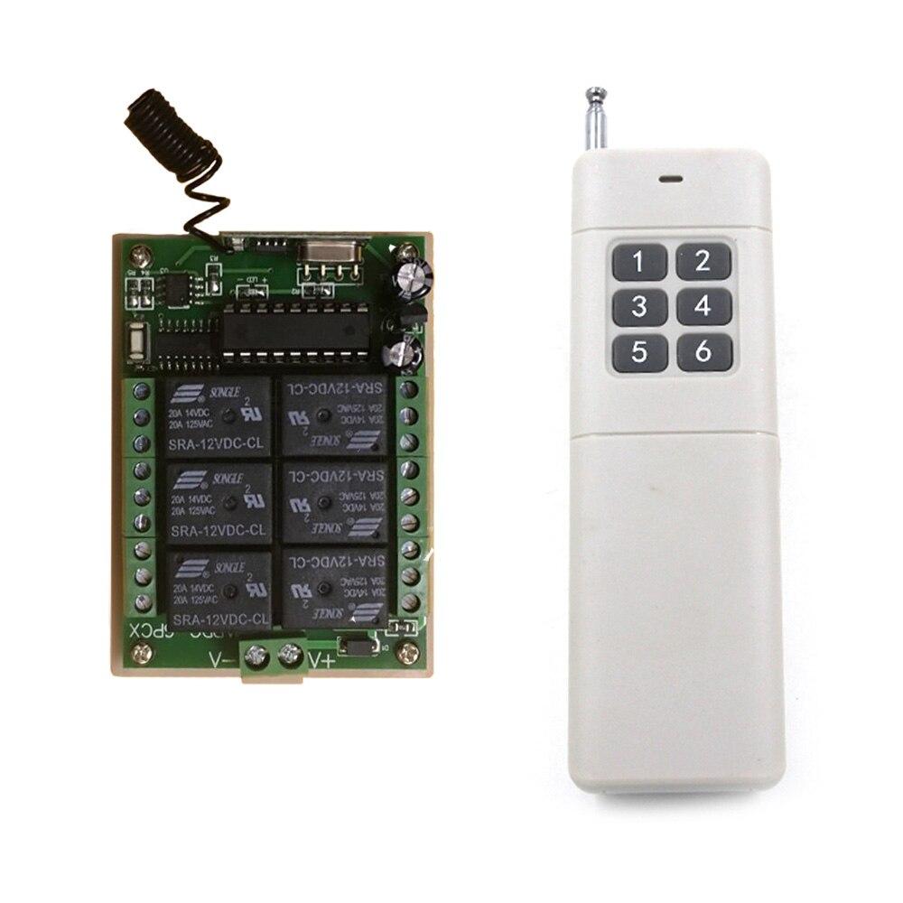 3000m 24V DC 12V 6CH 6 CH mando inalámbrico de radiofrecuencia lámpara de luz interruptor del sistema del transmisor receptor 315/433 MHz Smart Home