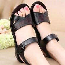 Женские сандалии из натуральной кожи, Элегантные дизайнерские сандалии на танкетке с цветком, повседневная женская обувь