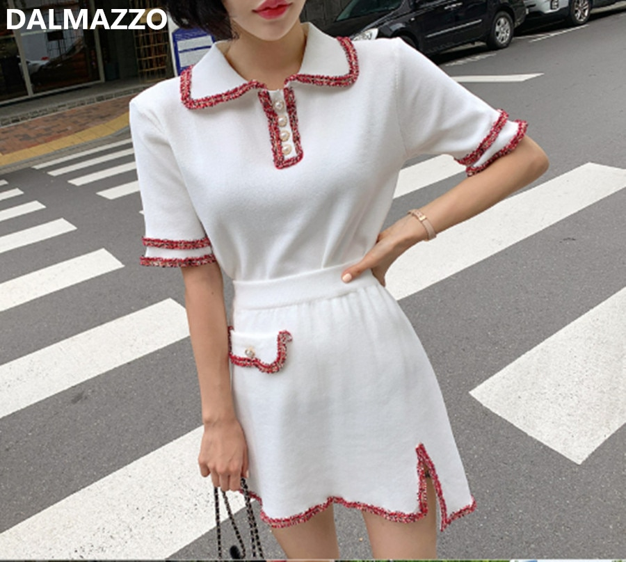 Fashion Casual Womans Runway Turn down Collar Knit Tops + Mini Skirt 2 Pieces Sets 2020 Newest Autumn Women's Knitted Skirt Suit
