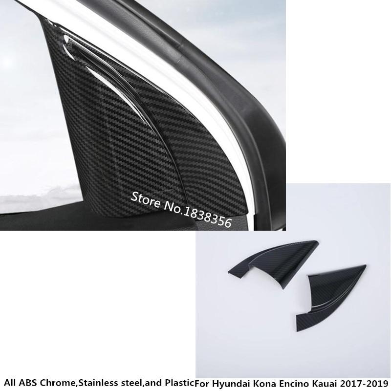 Palo de fibra de carbono para Hyundai Kona enchino 2017 2018 2019 2020, columna A, Audio, ventana, parabrisas, moldura triangular lateral