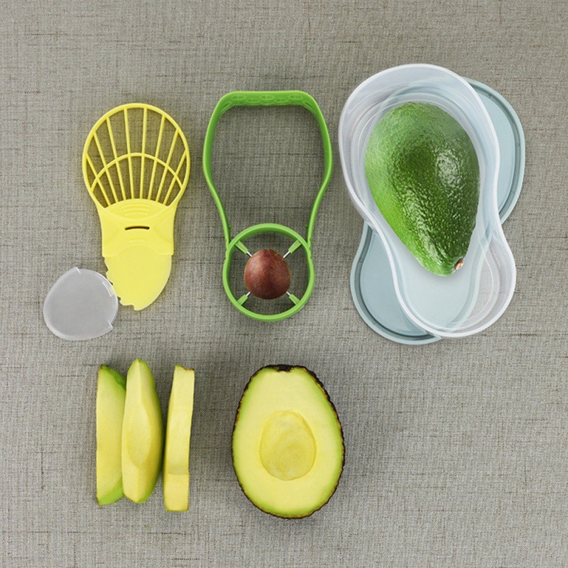 Herramienta para aguacate, dispositivo de limpieza + trituradora + Crisper, sembradora de frutas, caja de conservación de aguacate, utensilios de cocina