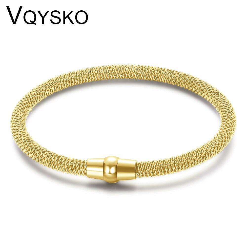 Высококачественный Браслет-цепочка, браслеты с магнитной застежкой, пять цветов, браслет из нержавеющей стали с сеткой для мужчин и женщин