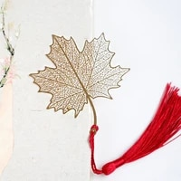 1 Pcs Cute Retro Golden Hollow Maple Leaves Design Tassel Metal Bookmarks for Books Marker Stationery Students Page Holder Gifts