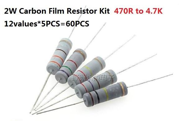 12values*5PCS=60PCS 470R-4.7K ohm 2W 5% Carbom Fillm Resistor kit set 560R 680R 750R 820R 1K 1.5K 2.2K 2.7K 3.3K 3.9 Assort pack