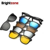 Набор очков, одна оправа, пять штук, солнцезащитные очки, солнцезащитные очки, мужские и женские Магнитные очки, оптические очки, оправа, очк...