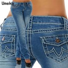 Nouvelle mode 2019 grande taille Jeans femme Skinny poches Denim dames crayon taille haute bleu Jeans femmes pantalons femme pantalon