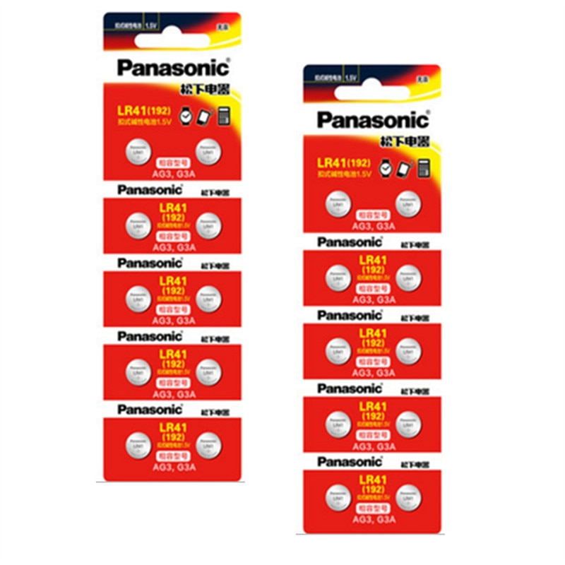 20 Pcs/2 Pacotes PANASONIC LR41 192 baterias AG3 0% Hg 192 392A 1.5 V Célula de bateria Para calculadora 0% Hg