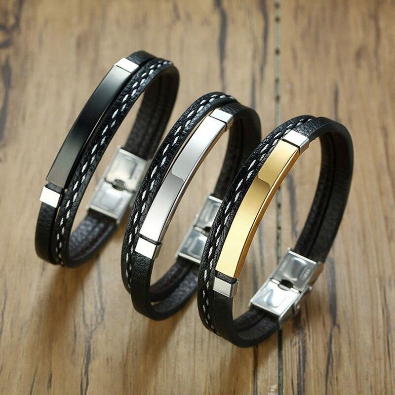 Pulseras de cuero multicapa para hombres y mujeres, brazaletes de barra de acero inoxidable con grabado personalizable, pulsera personalizada Casual