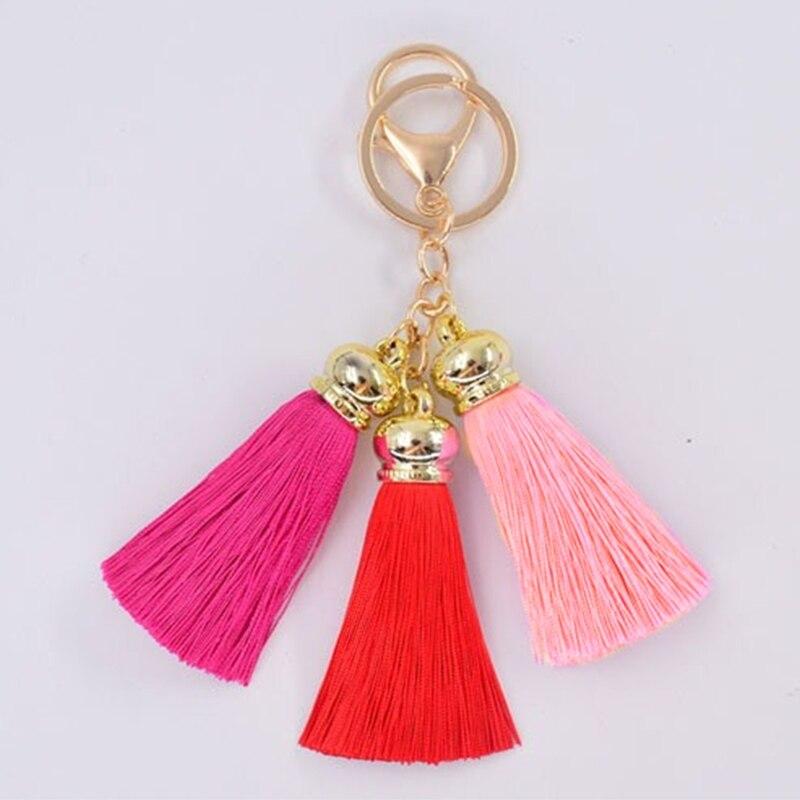 Fashion Tassels Keychain Women Bag Charms Gold Color Keyring Car Key Ring Party Wedding Jewelry Fringed Keychain Trinket Gift