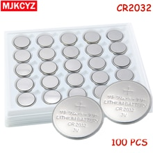 100 pcs/Lot, pile bouton CR2032 3 V pile bouton, pile bouton, pile lithium cr 2032 pour montres, horloges, calculatrices
