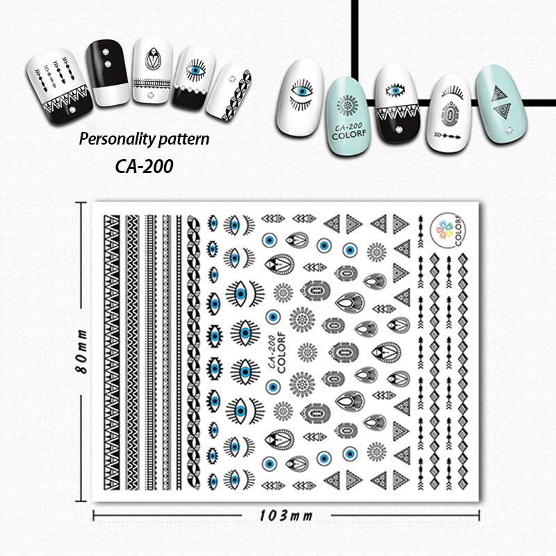 Wyuen diseño de pegatina para uñas, negro, diseños personalizados, calcomanía ojos azules, deslizador de moda 3D para mujer, decoración de uñas, CA-200