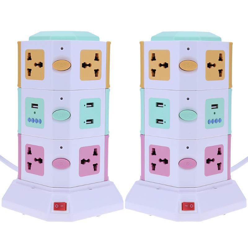 3-слойная универсальная умная электрическая розетка, Вертикальная Розетка с автономным выключателем, светодиодные лампы, MP3 play + 2 usb-порта