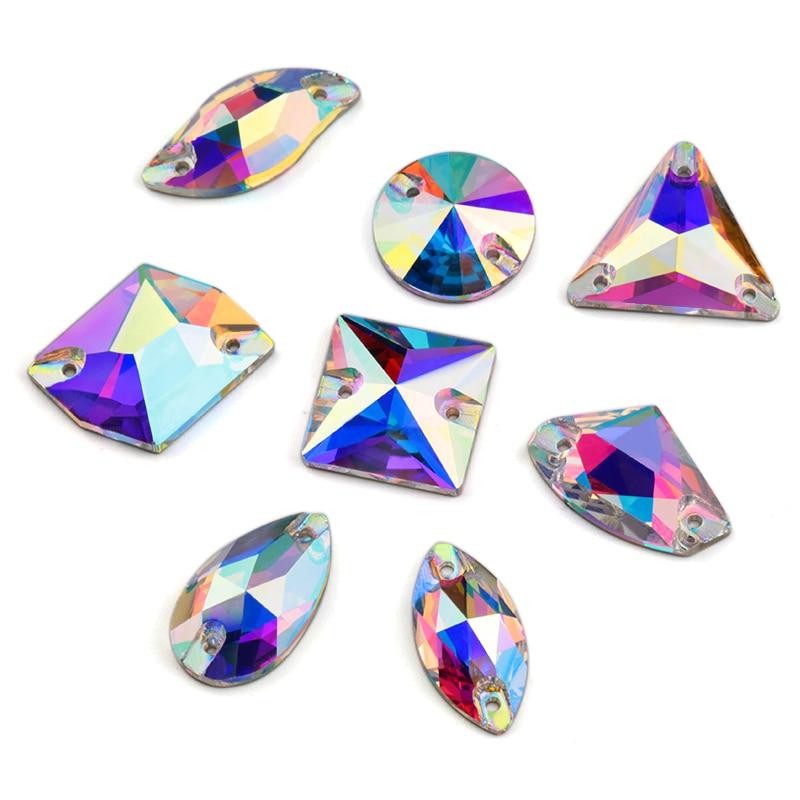 8 видов Стразы для рукоделия бутик кристаллы AB пришивные стразы бусины, швейные бусины для платья изготовление ювелирных украшений