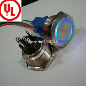 6V 12V 24V 220V ring illuminated 30mm momentary anti vandal electric metal switch with connector