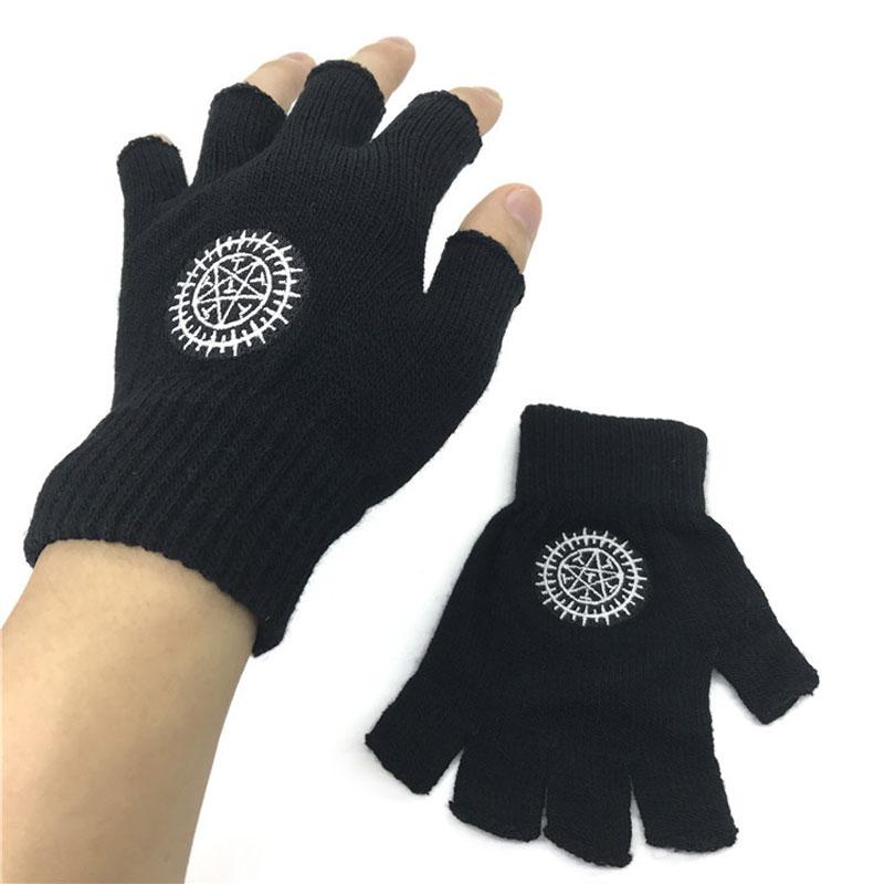 Tendência unisex luvas sem dedos anime preto mordomo ciel contrato pentagrama malha luva inverno quente luvas de pulso cosplay presente