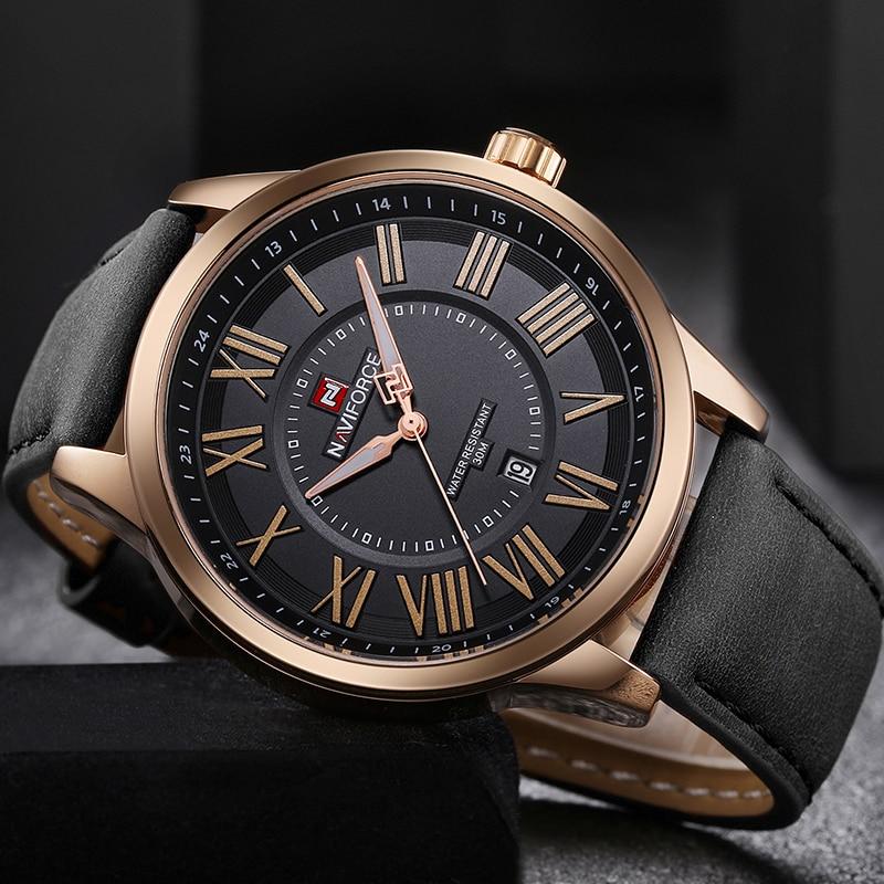 NAVIFORCE Brand Men Analog Quartz Wristwatches Leather Waterproof Sports Watches Men's Casual Watch Clock Male Relogio Masculino